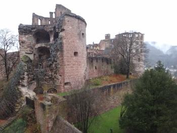 Schlossgarten tower remains, Heidelberg, Germany.