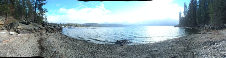 Panorama of Lake Coeur d'Alene from a little beach.