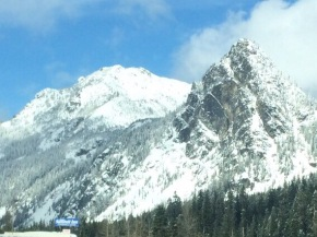 Snoqualmie Pass snow covered mountain peaks.