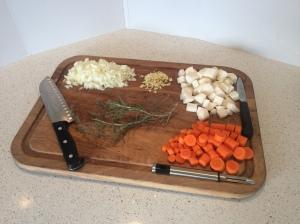 Irish stew veggies prepared.