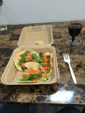 fish tacos and cab sauv