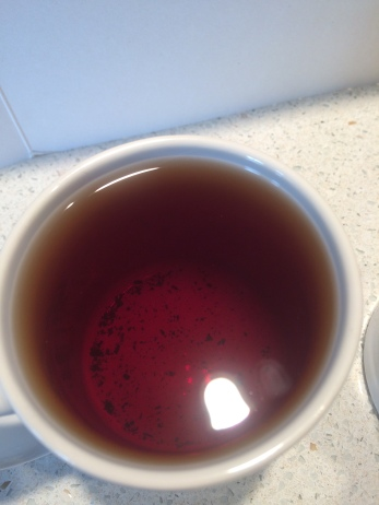 English breakfast tea steeped 4 minutes.
