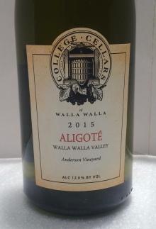 College Cellars 2015 Aligote' wine.