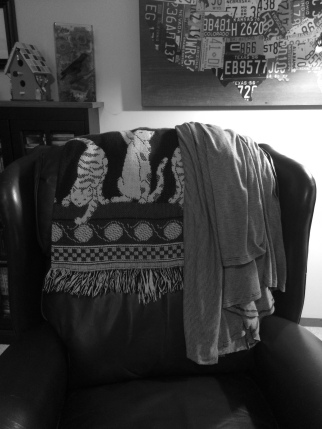 Sweater and blankets to warm up during the cold.