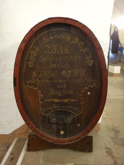 Georg Schweinfurth poem on wine barrel; Heidelberg Castle.