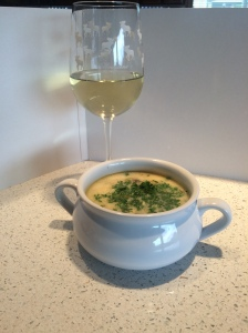 Locati: Asparagus and mushroom soup and Pinot Grigio wine.