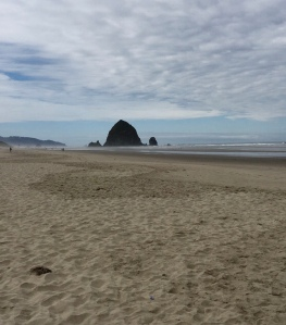 Haystack Rock at low tide from the beach, Cannon Beach, OR.
