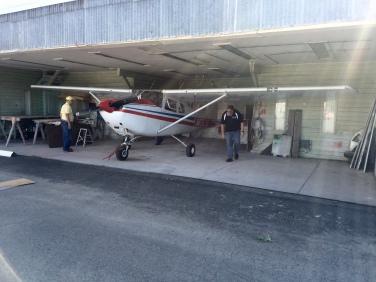 Cessna 182 in Martin Field hanger.