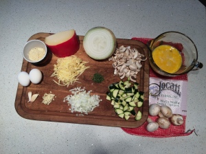 Frittata ingredients prepared before heating the pan.