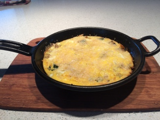 Frittata in a cast iron skillet