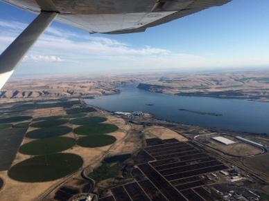 Looking south at Wallula Gap and Oregon.