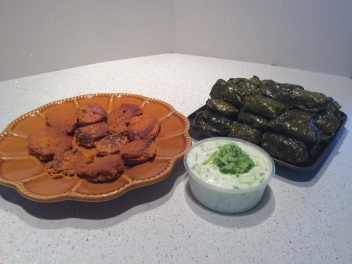 Dinner is served: falafel, lamb stuffed dolmas, and tzatziki.