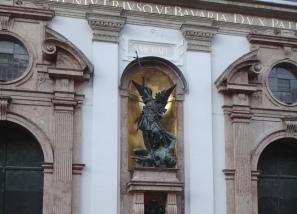 St Michael statue at St Michael's Munich.