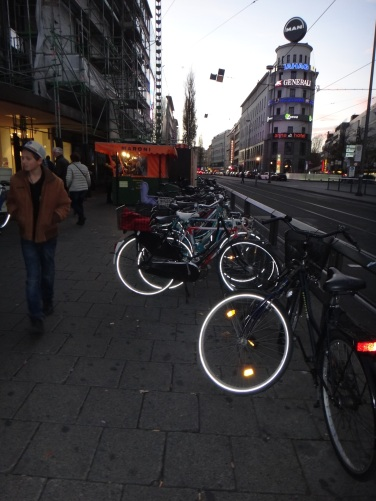 Bicycles outside the Munich train station.