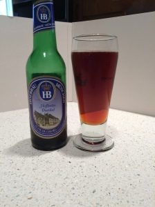Hofbrau Dunkel in a bottle.