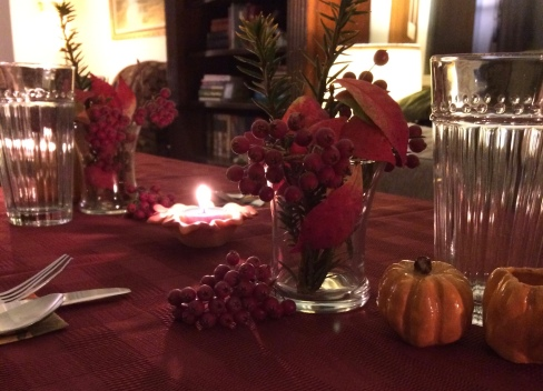 table decor including leaves and berries from the yard
