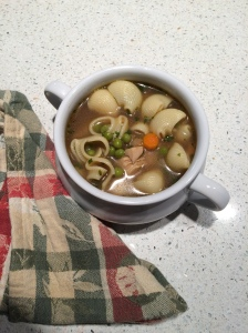 Turkey soup from homemade turkey broth.