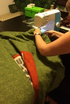 Last seam on the quilt is sewn.