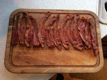Crispy bacon for the potato soup